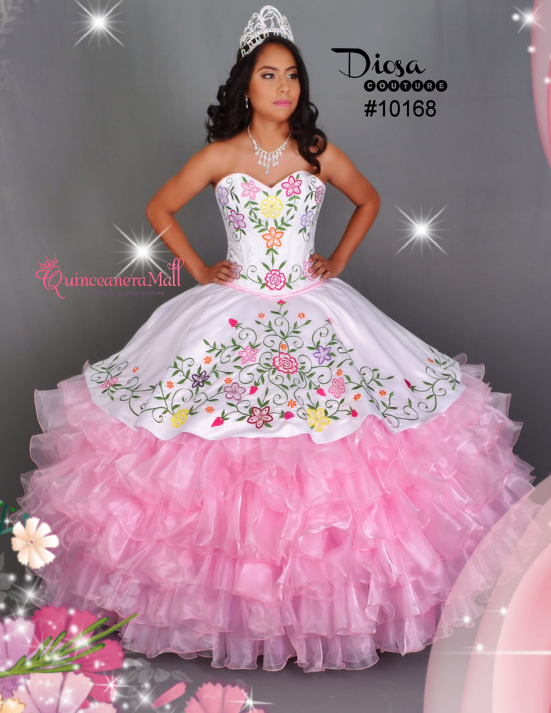 Multi Color Flowers Quinceanera Dress 10168qm