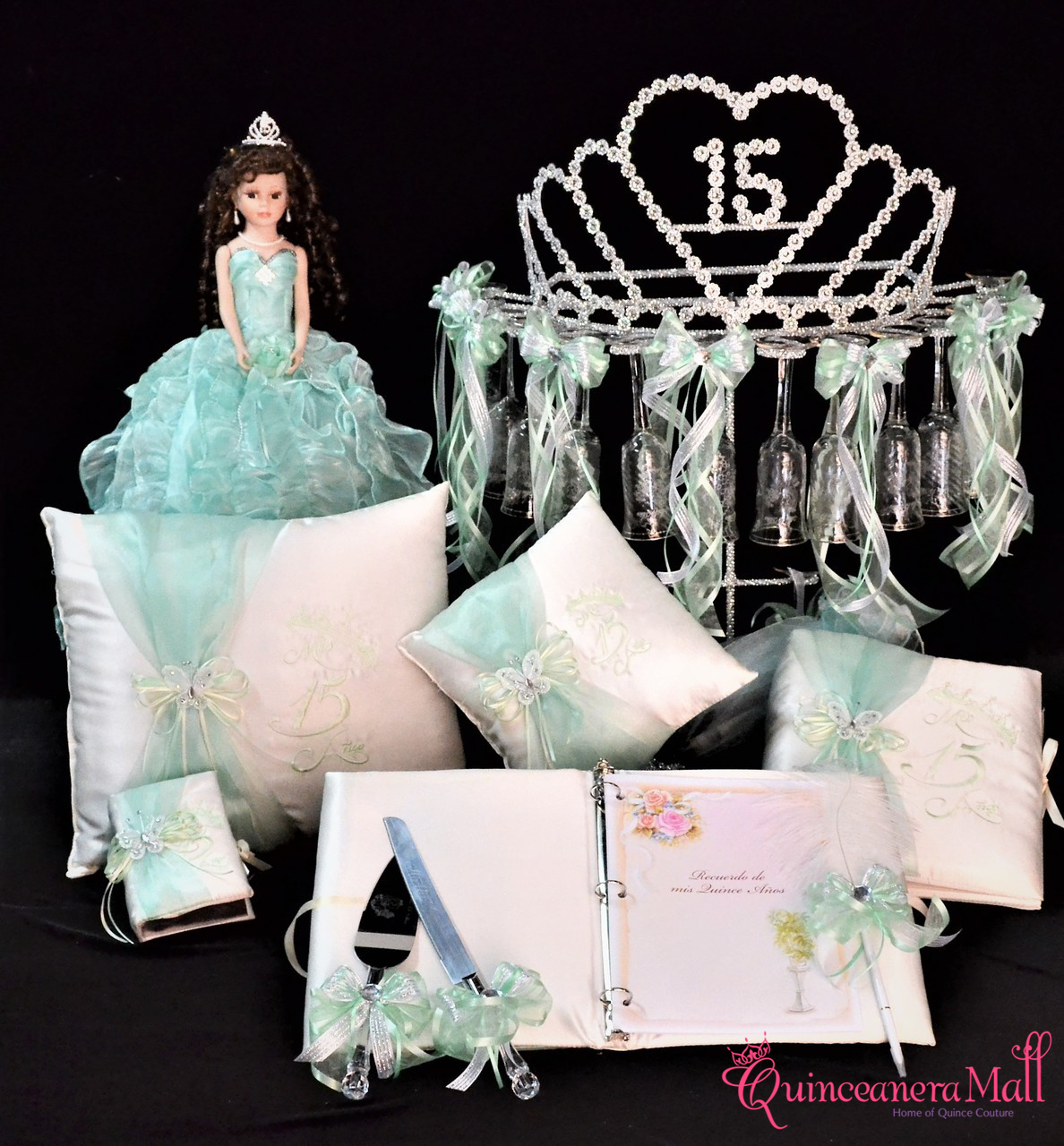 3c6c37e36a Princess Tiara Quinceanera Package Toasting Set, Doll, Pillows, Guest Book,  Album, and Cake Server #QSP155 - Quinceanera Mall
