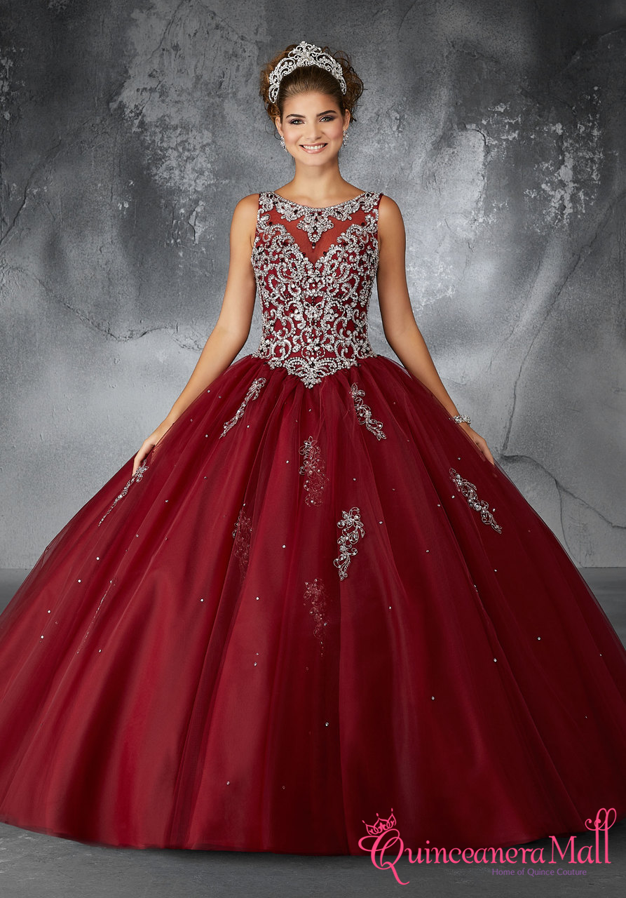 dfcfb19edb4 Quinceanera Dress Sangria Embroidery And Beading On A Tulle Ball Gown