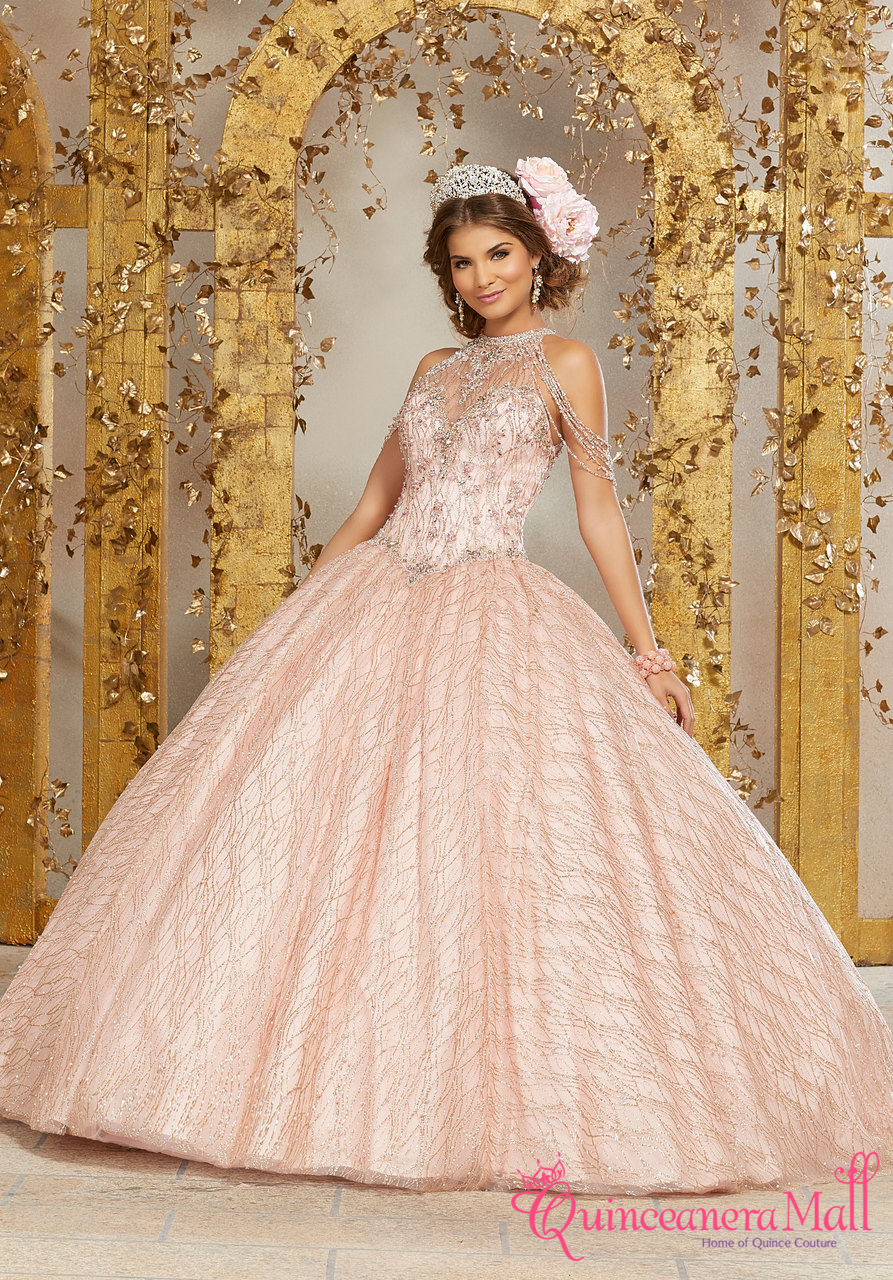 b016eb6b50f Mori Lee Vizcaya Crystal Beading on a Patterned Glitter Mesh Ballgown  89221
