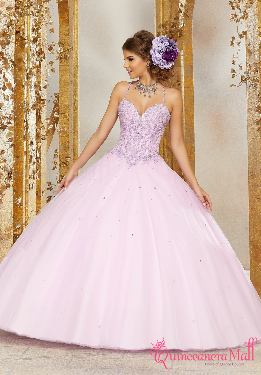 795d6ecfe3 Crystal Beaded Lace Appliqués on a Tulle Ballgown  60078 ...