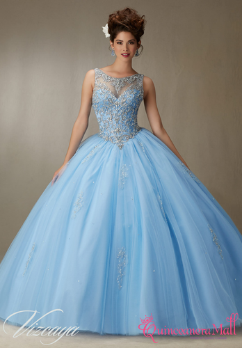 4c0cc05cad0 Quinceanera Dress Ivory Jeweled Beading On A Ruffled Tulle Ball Gown ...