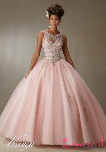 412e0108cf7 Quinceanera Dress  89067PKQuinceanera Dress Pink Embroidery And Beading On  A Tulle Ball Gown