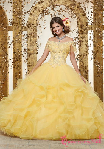 df87c3152f Rhinestone and Crystal Beaded Embroidery on a Flounced Tulle Ballgown  89237