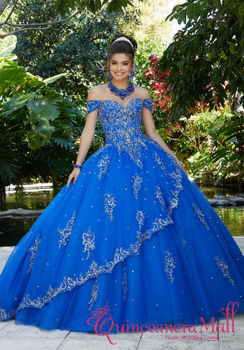 fb4c2c86 Rhinestone and Crystal Beading with Metallic Embroidery on a Tulle Ballgown  #89254