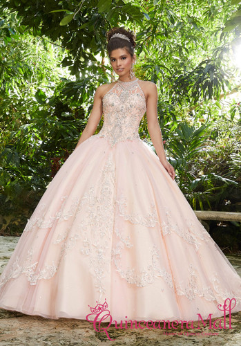 f551c40f1 Rhinestone and Crystal Beading on a Metallic Embroidered Tulle Ballgown   89256