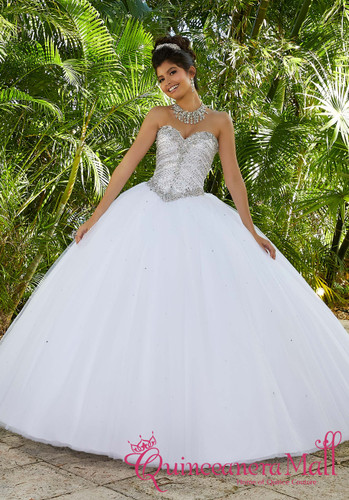 4b30f8e7a Rhinestone and Crystal Beaded Metallic Embroidery on a Tulle Ballgown  60093