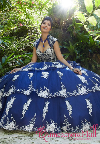 cc4491fc65 Rhinestone and Crystal Beading on a Tiered Tulle Ballgown  89258BL