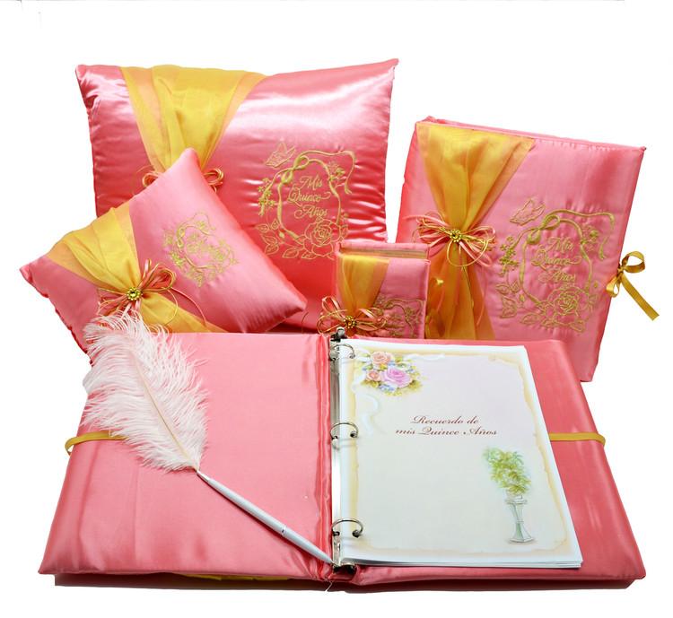 Rose Design Quinceanera Accessories Pillows, Photo Album, Guest Book and Bible #QSET70QM