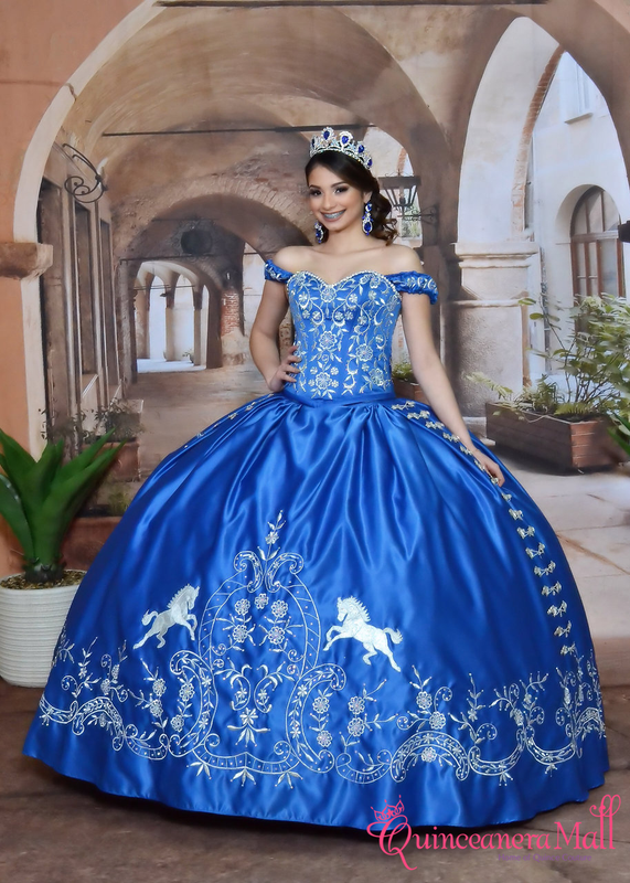 Charra Dress With Roses Design And Ruffles