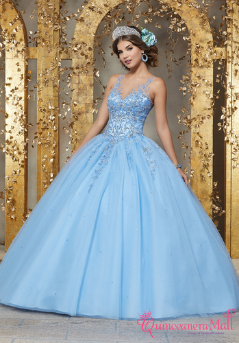 Rhinestone And Crystal Beaded Embroidery On A Tulle Ballgown 89223 Quinceanera Mall