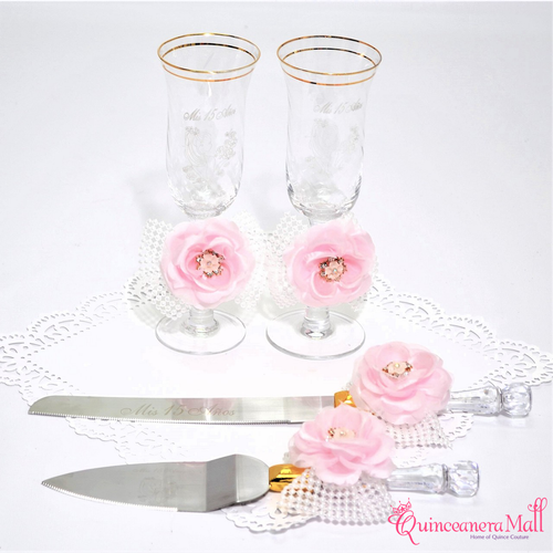 Cake Server And Knife Set With Matching Toasting Glasses