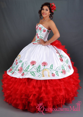 e2b3465db6a Charra Dress with Red Roses  10165QM - Quinceanera Mall
