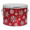 5S Red with Snowflakes Tall Round Tin Container