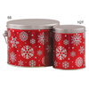 Red with Snowflakes Tall Round Tin Container Group
