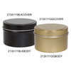 """2 13/16"""" Round Seamless Tin Container Black or Gold"""