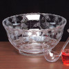 Round Plastic Floral Crystal Cut Punch Bowl