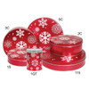 Red with Snowflake Cookie Tin Container Grp