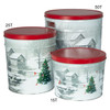 Snow Covered Mill Popcorn Tin Container Group