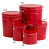 Red Solid Popcorn Tin Container Group