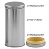 211 x 501 Platinum Tall Round Tin Container with Plastic Ring Cover