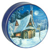 Winter Cottage Cookie Tin Container