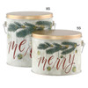Very Merry Tall Round Tin Container Group