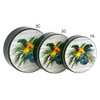Parrot-Dise Round Tin Container Group