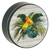 Parrot-Dise Round Tin Container