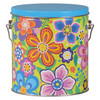 Vivid Floral Tall Round Tin Container