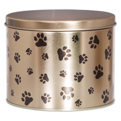 Paw Prints Tall Round Tin Collection