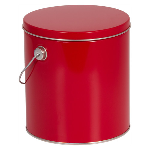 Red Solid Tall Round Tin Collection