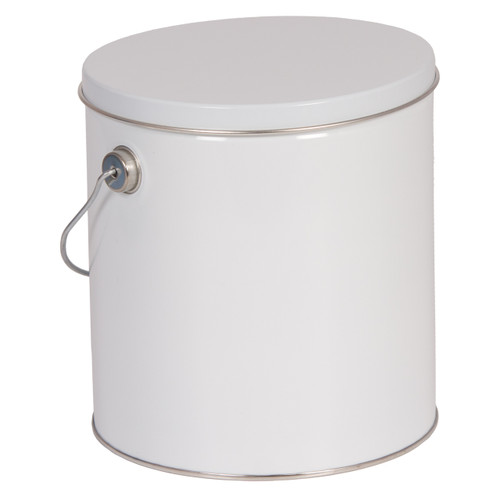 White Solid Tall Round Tin Collection