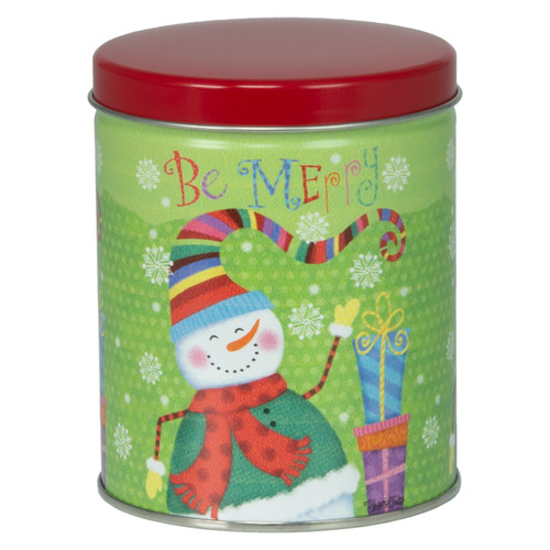 Be Merry Tall Round Tin Container