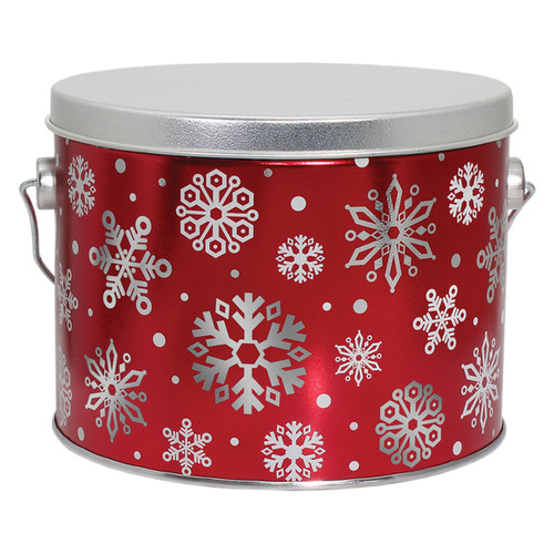 Red with Snowflakes Tall Round Tin Collection