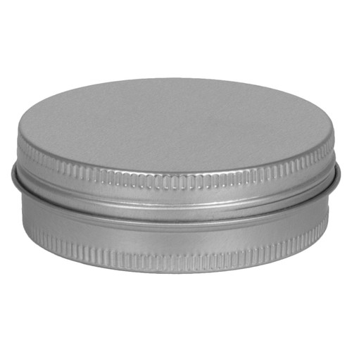"2 9/16"" Diameter (2 oz.) Shallow Round Screw Top Seamless Tin"