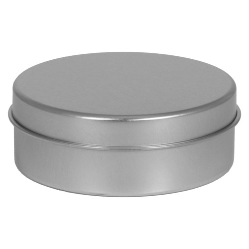 "3 9/16"" Diameter (6oz) Shallow Round Seamless Tin Collection"
