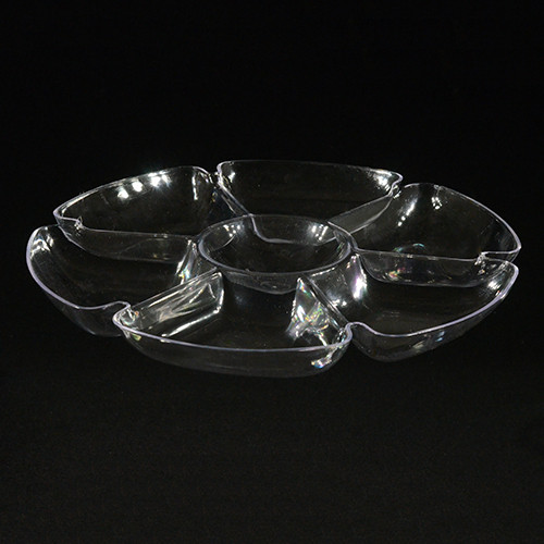 """16"""" Round 7 Section Clear Plastic Tray"""