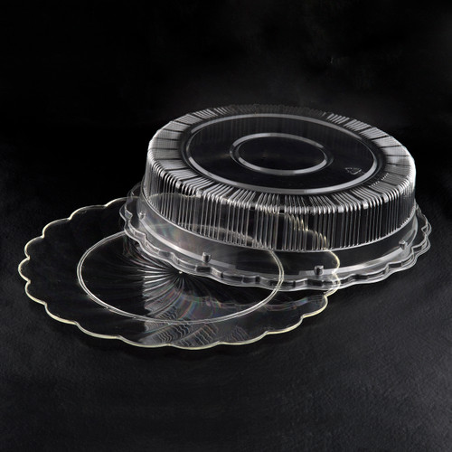 Round Clear or Black Scalloped Edge Plastic Tray w/ or w/o Dome