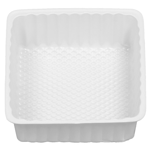 2 Square White Tin Container Inserts