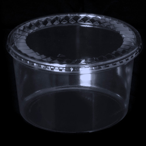 "7"" Tall Round Clear Plastic Tubs"