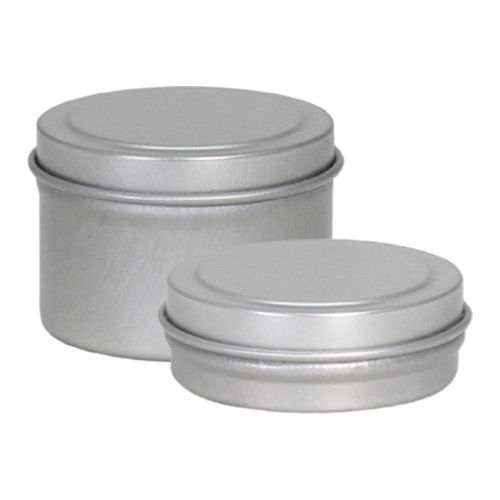 "1 9/16"" Diameter x 7/16"" (.5oz) Shallow and x 1"" (1oz.) Deep Round Seamless Tin"
