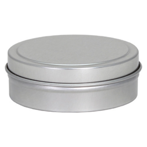 "2 7/16"" x 3/4"" Seamless Tin Container Platinum Silver"