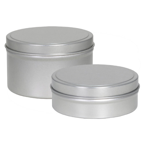 "3 1/8"" Diameter x 1"" (4oz.) Shallow and x 1 15/16"" (8 oz.) Deep Round Seamless Tin Collection"