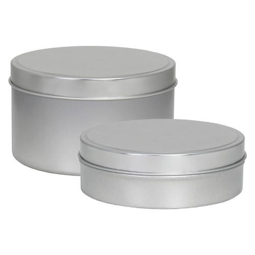 "4"" Diameter x 1 1/8"" Shallow (8oz.) and x 2 1/4"" Deep (16 oz.) Round Seamless Tin Collection"