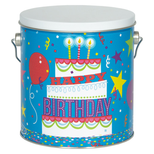 Birthday Party Tall Round Tin Container