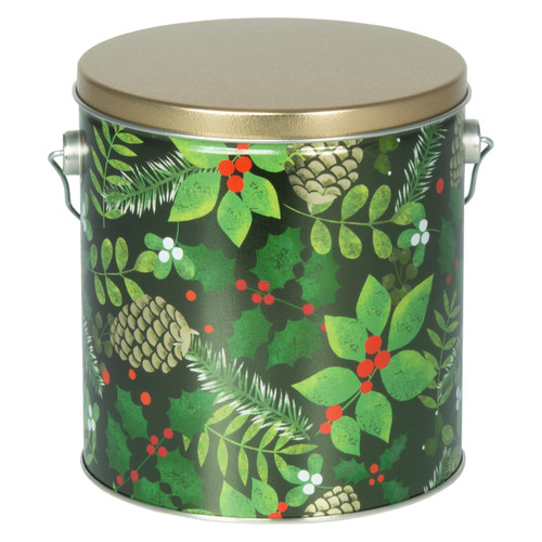 Golden Pinecones Tall Round Tin Collection