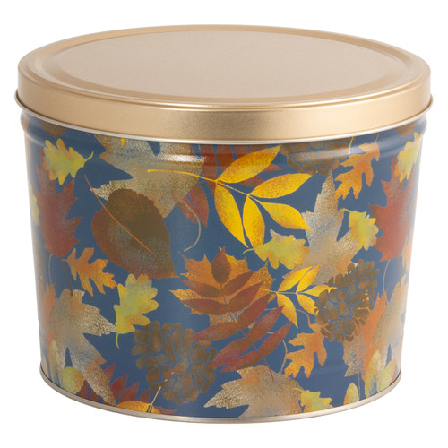 Falling Leaves Popcorn Tin Container