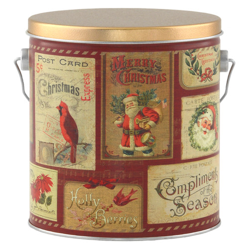 Vintage Postcards Tall Round Tin Collection