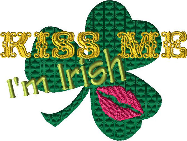 St. Patrick's Day - Kiss Me Embroidery Design